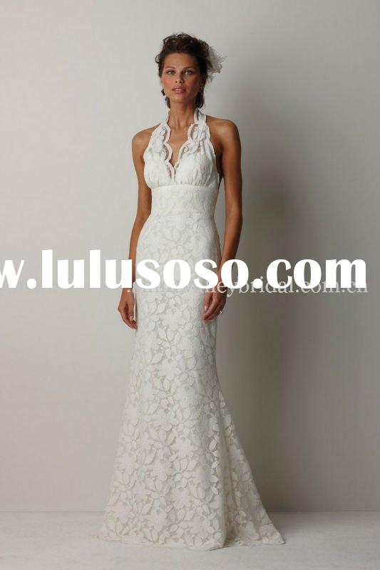 Brand New Beautiful Halter Neck Bare Back Lace Wedding Dress IS246