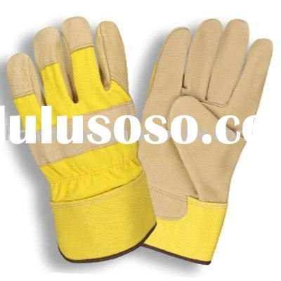 pig grain leather work gloves