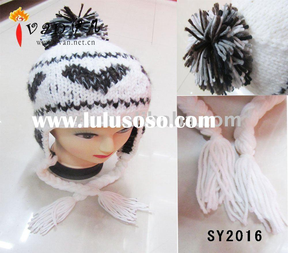 2011 Hot Selling Fashion Knit Pattern For Hat Earflaps