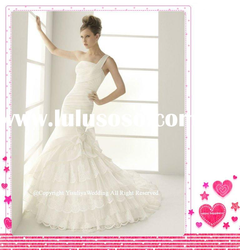 2012One-shoulder Mermaid Wedding Dress with Lace
