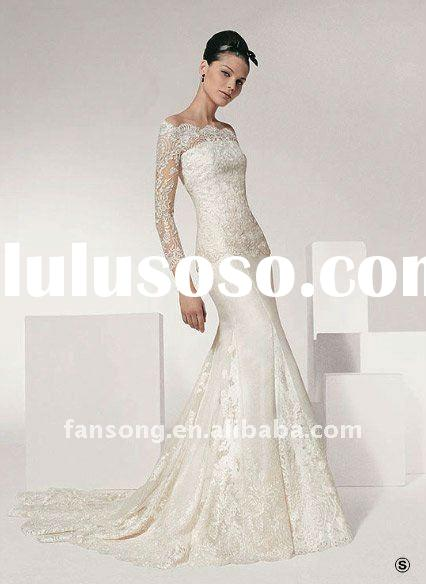 Delux long lace sleeve sheath off shoulder wedding gown