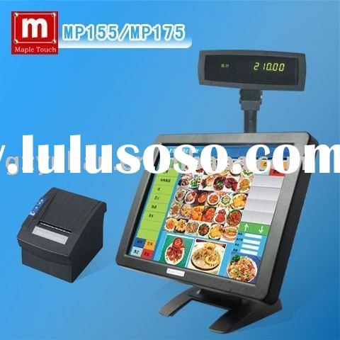 "Mapletouch 15"" LCD POS Touch Screen Monitor with VDF customer display,thermal printer"
