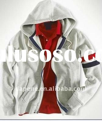 Promotional 100% cotton white zipper-up hoody for men