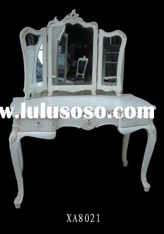 Shabby Chic Wooden Dressing Table With Tri-Mirror W120X D56X H160CM