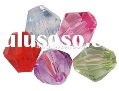 Transparent Acrylic Beads, Faceted Bicone, Mixed Color, about 16mm long, 15mm wide, hole: 3mm, about