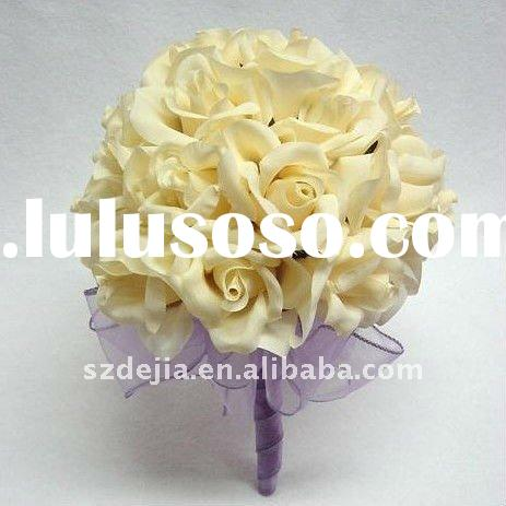 artificial Wedding flower bouquet real touch and latex rose