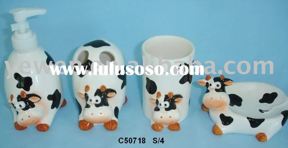 ceramic bathroom set,sopa dish, soap dispenser,tumbler,toothbrush holder