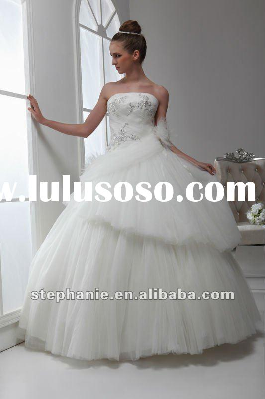 Ball gown beaded lace tulle usa wedding dresses