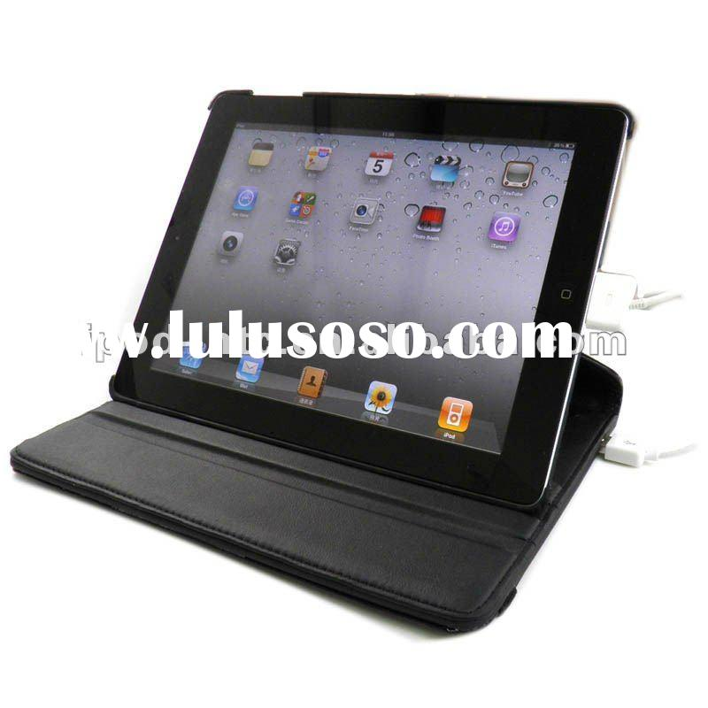 "Crocodile pattern Black color 360"" Rotating Leather Case cover for iPad 2 with 6500 mah chargin"