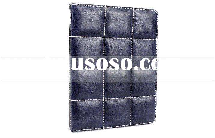 Folio style blue leather case for ipad 2 case, cover for ipad 2--Hot selling!!!