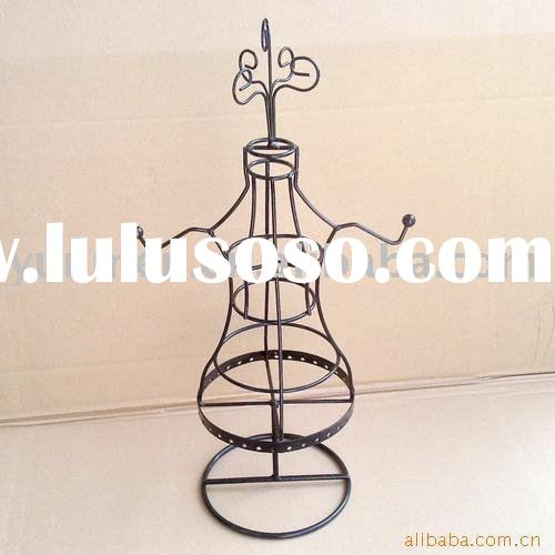 JD011H- black metal wire doll jewelry holder stand display