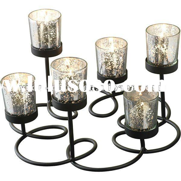 Mercury Effect Glass Candle Holder With Iron Stand