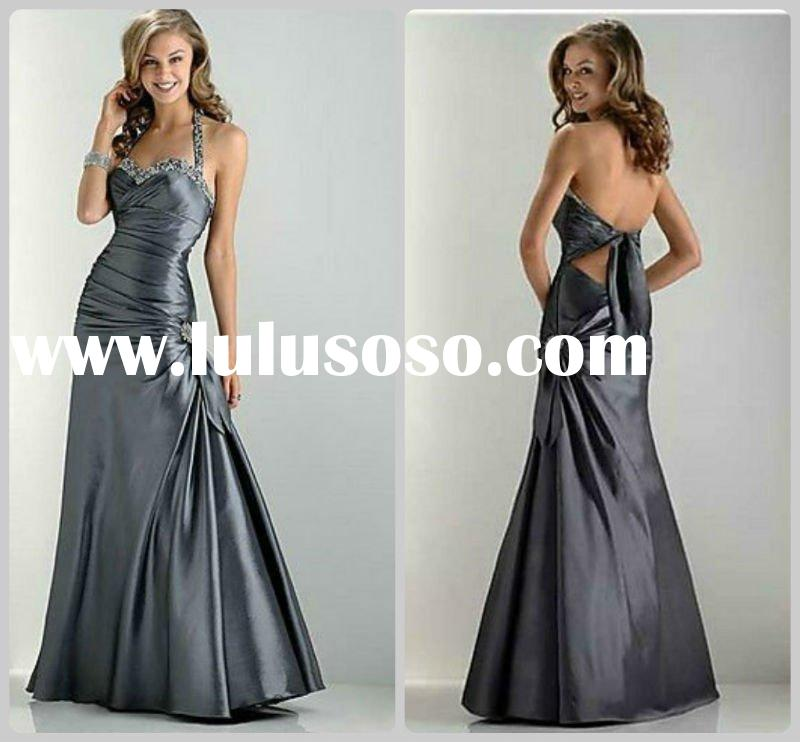Formal Charcoal Grey/Dark silvery Halter Evening Dress/Gown by Flirt 4372