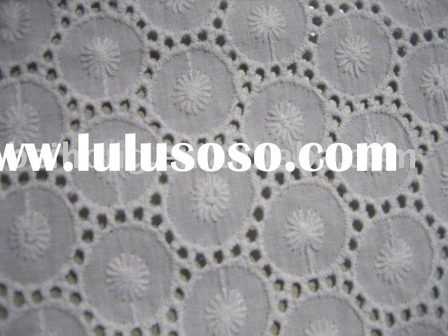 eyelet white 100% cotton embroidery fabric