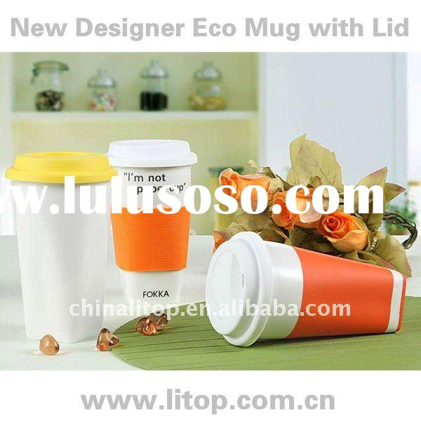 Wholesale Eco Friendly Double Wall Ceramic Designer Mugs Thermal Cups Travel Mugs with Heatproof Sil