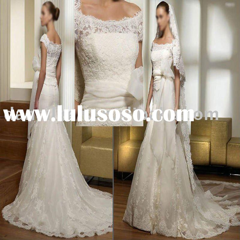 WR0512 Princess Cap-sleeve Lace bridal wedding dress with Sweetheart neck chapel length