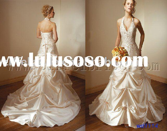 wd1114 new 09 style halter wedding dress customed wedding gown bridal gown