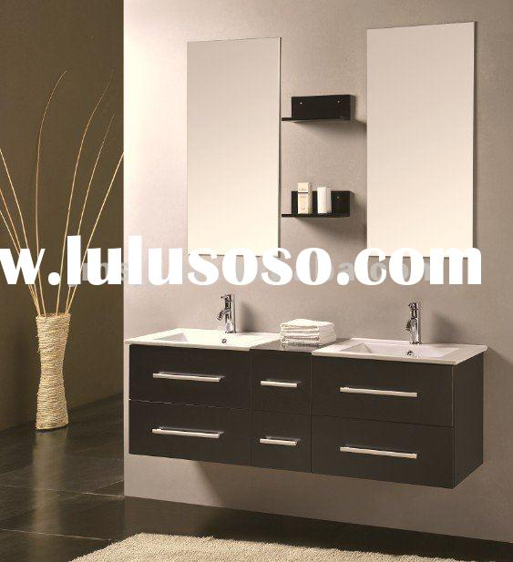 2012 Modern double sink solid wood bathroom cabinets New Design (High Quality & Sample offered)