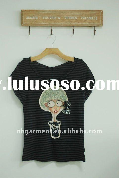 Ladies puff t-shirt with cartoon print