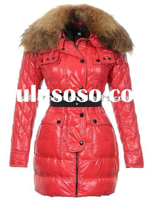 New fashion women down coat with big fur collar red