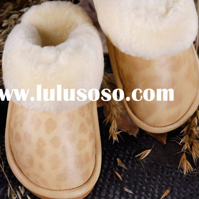 Pure sheepskin ladies bedroom slippers