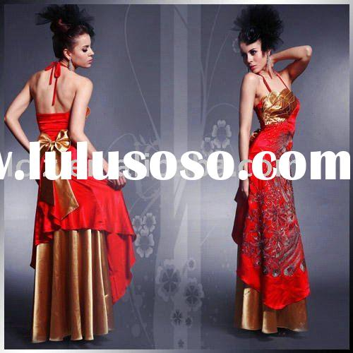 D30116 Backless silk satin red and gold color court train prom dress