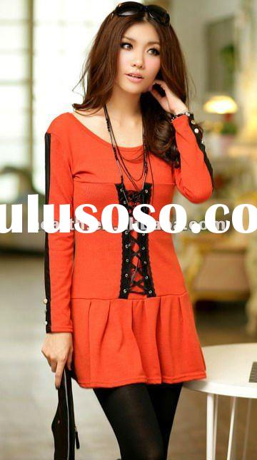 whole sale Fashion women tops and blouses with fake leather button 2012