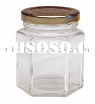 hexagon glass jam jar with metal lid/glassware