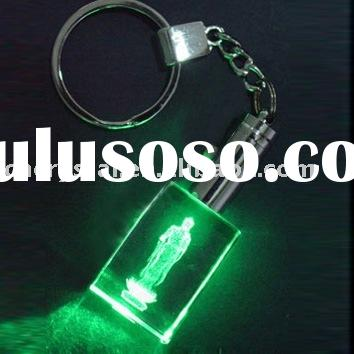 rectangle shape green led light crystal keychain key ring,key ring