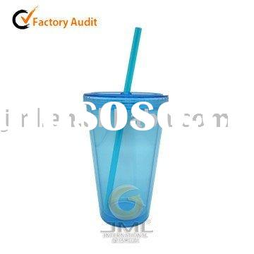 16oz Double Wall Plastic Cup with Straw And Lid