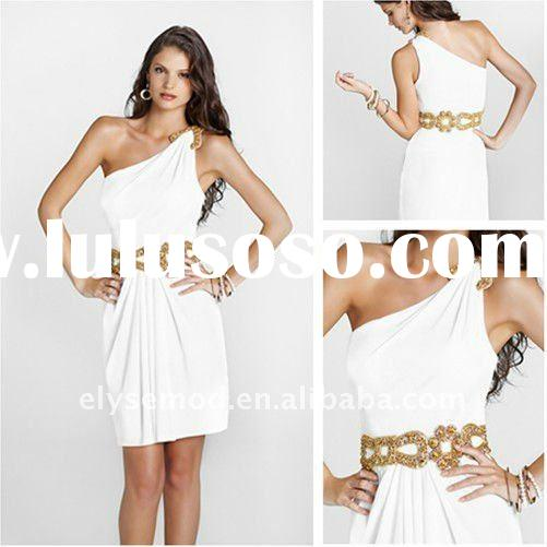 Elegant One Shoulder Short Gold Sequin Belt White Homecoming Dress Boutiques