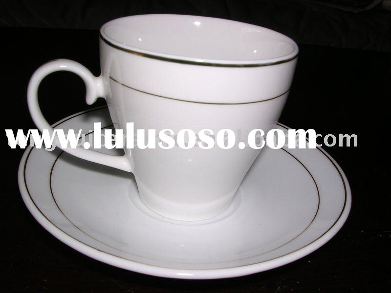 GGK tea coffee cup and saucer white porcelain fine china tea set