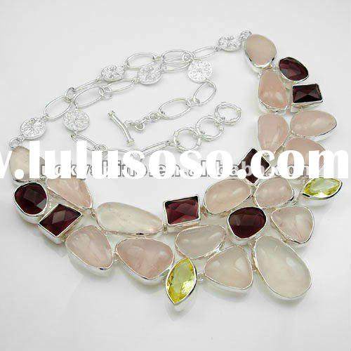 natural stone rose Quartz jewelry handmade silver necklace