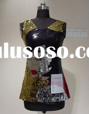 ladies fashion sleveless stage sequin top / dress