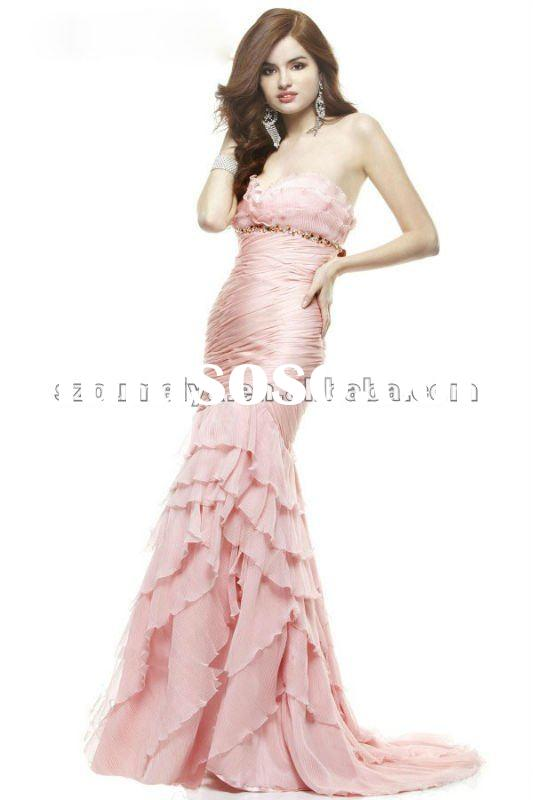 Chiffon OEP303 Ruched Fishtail Mermaid Prom Dresses 2012