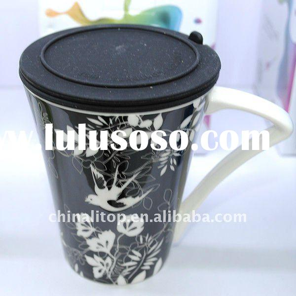New Eco Friendly Procelain Thermal Travel Tea and Coffee Mug Cup with Handle and Silicone Lid &