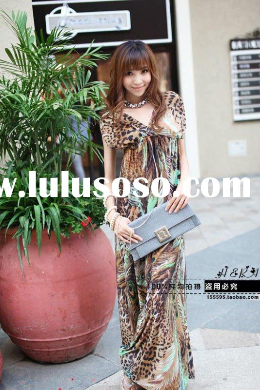 2012 New arrival,Wholesale Bohemia ladies maxi dresses,Floral casual dress,strapless/ spaghetti/halt