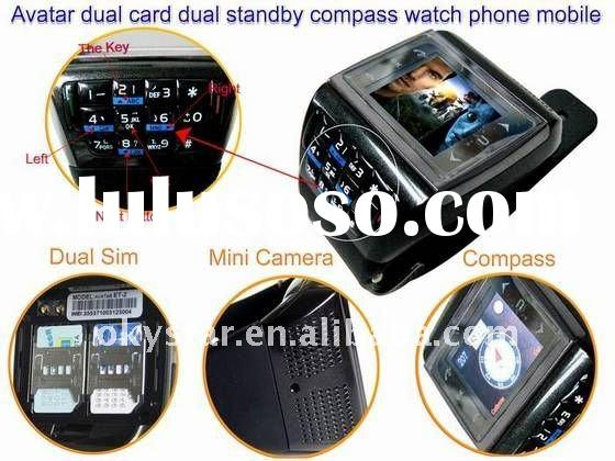 AVATAR ET-2 GSM watch phone Dual SIM card dual standby Quad-band touch screen Keyboard Compass
