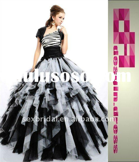 2012 extravagant fantastic classic black white one shoulder tulle ruffles beaded sequins wedding bal