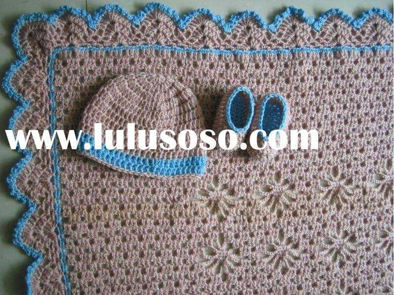 Fashion High Quality 100% Crochet Baby Blanket Hat Booties Shoes Set