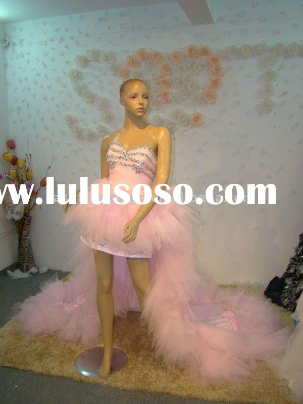 REAL335 2011 Gorgeous front short back long train pink crystals prom dress and evening dress