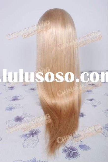 Silky straight blond color Straight Indian remy human hair lace long wigs