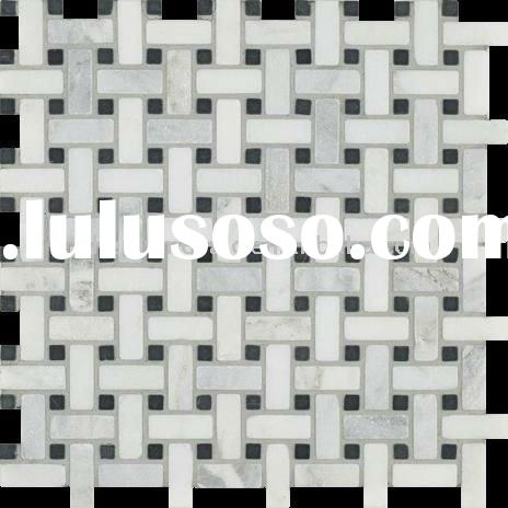 Tumbled Black And White Marble Mosaic Tile