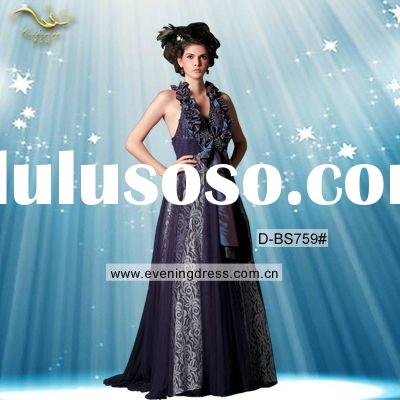 Elegant Purple Halter Bowknot Design Evening Prom Dress 2012 D-BS759#