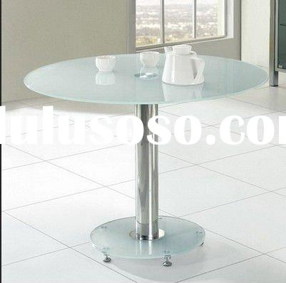 Round Ice Glass top round dining Table small 105cm Frosted (IN UK) S6