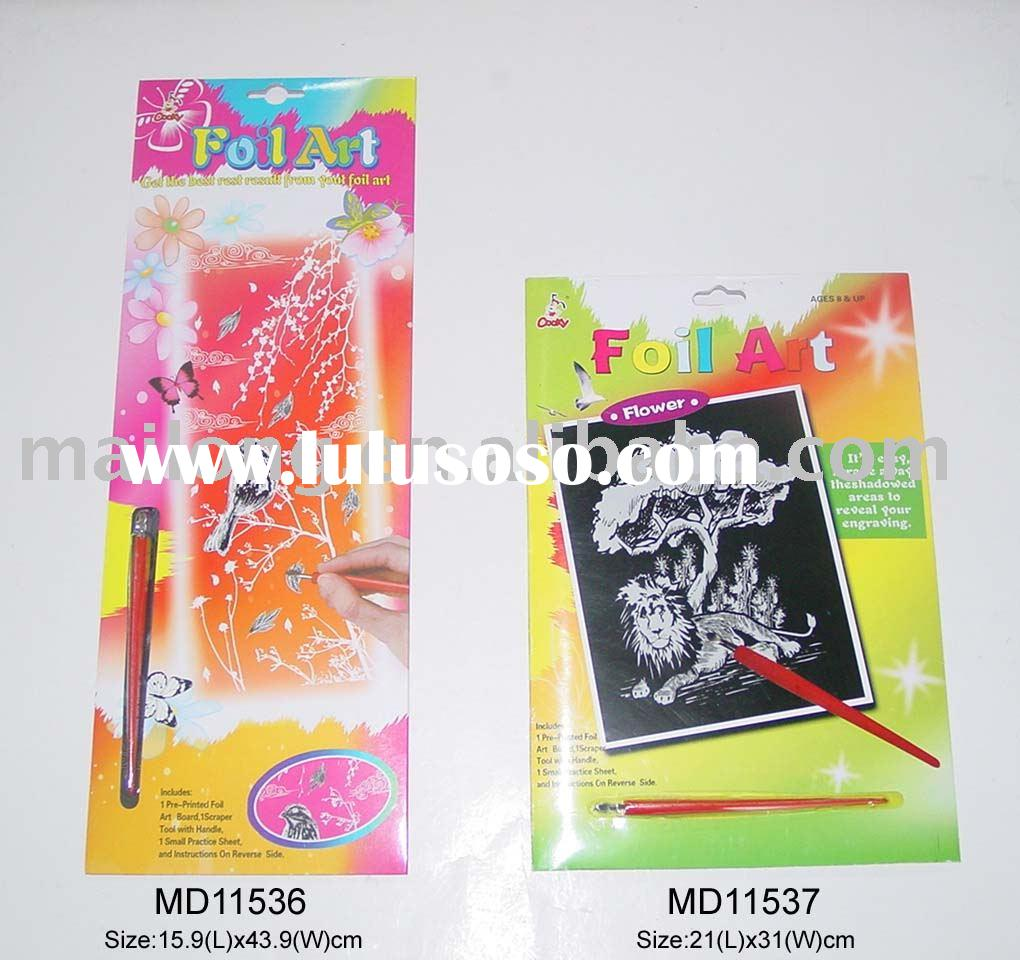Fancy colorful foil art engraving scratch art for students