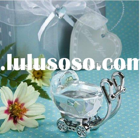 Crystal Baby Carriage in Satin Gift Box Crystal Wedding Favors Baby shower gifts