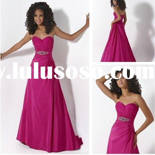 Hot Sale New Design Berry Pink Strapless Taffeta A-line Cheap Prom Dresses