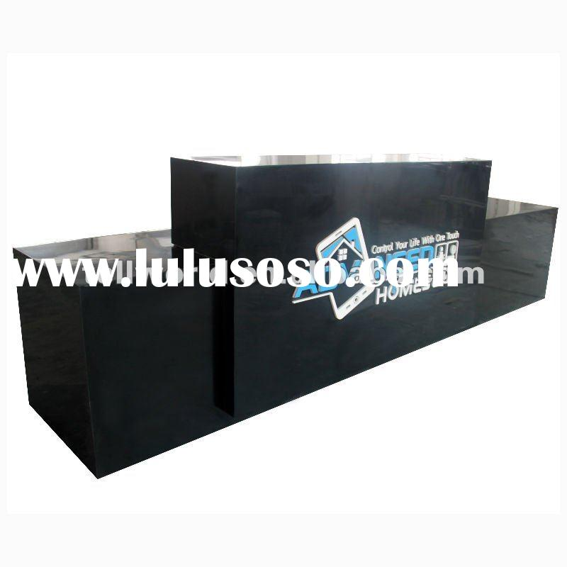TW Modern Design OEM Acrylic Solid Surface Reception Counter,black reception desk