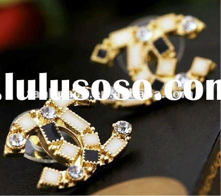New style Double C crystal diamond fashion design jhumka earrings